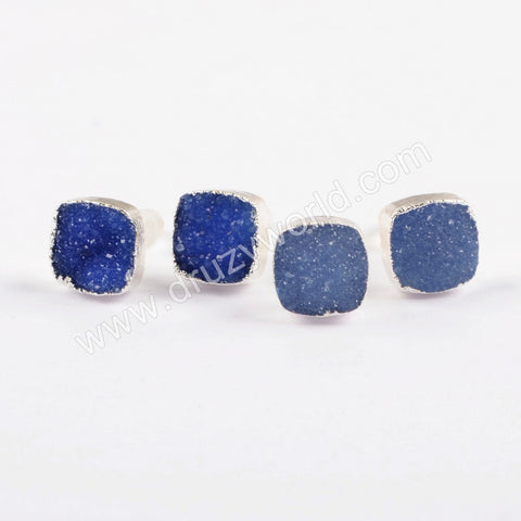 925 Sterling Silver 8mm Square Druzy Blue Studs CL276