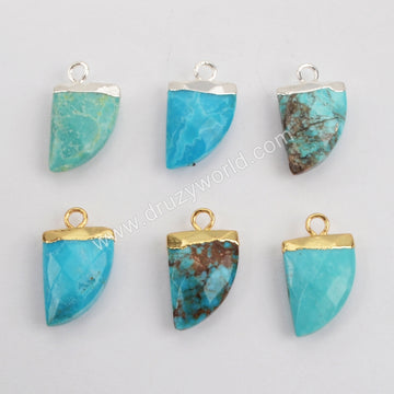 Gold Plated Natural Turquoise Faceted Horn Charm G1368