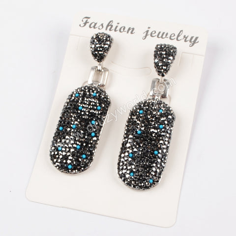 Rhinestone Pave Oval Stud Earrings JAB771