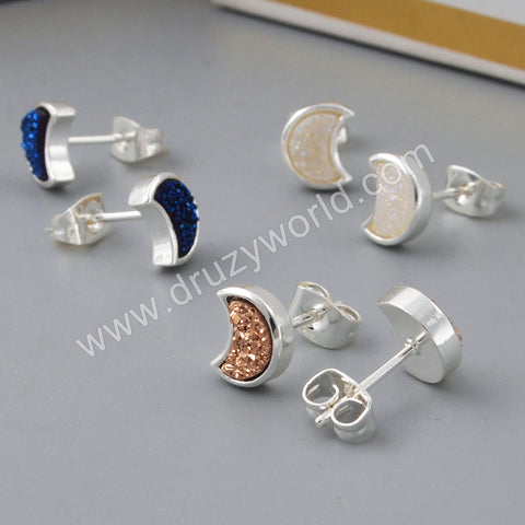 Silver Plated  Moon Bezel Natural Druzy Studs ZS0282