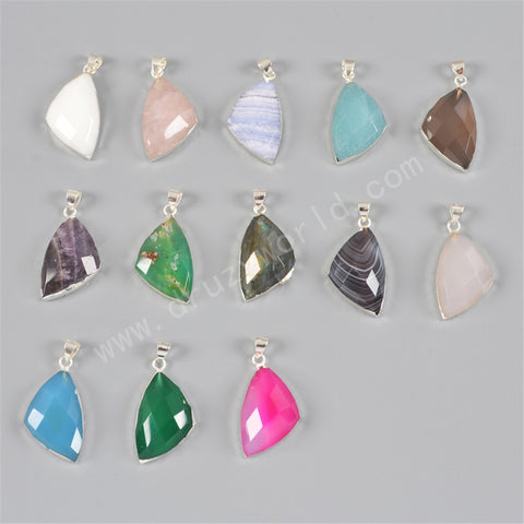 925 Sterling Silver  Triangle Natural Ceramic Pendant Bead SS132