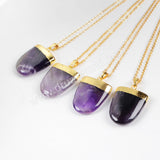 Gold Plated Natural Shield Amethyst Pendant bead G0531