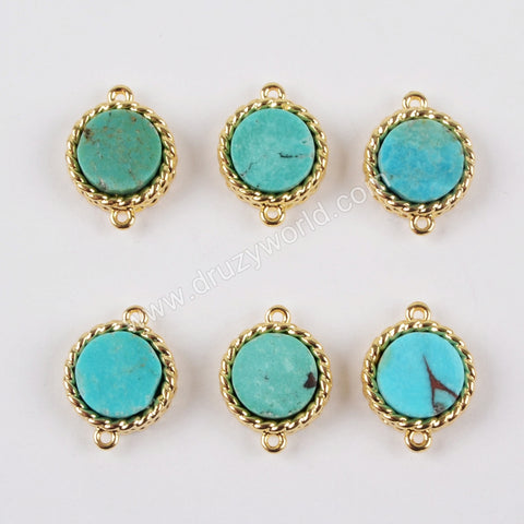 8mm Round Gold Plated Bezel Natural Turquoise Connector Double Bails ZG0164