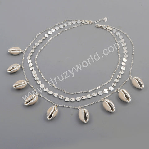 Cowrie Shell Three Layer Fashion Necklace For Women Silver Plated S1736