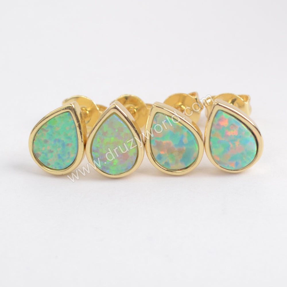 White Opal Bezel Stud Earrings For Women Gold Plated ZG0215