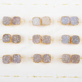 8mm Gold Plated Square Natural Agate Titanium AB Druzy Stue Earrings