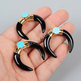 Gold Plated Black Agate Crescent Double Horn Charm With 8mm Turquoise G0938