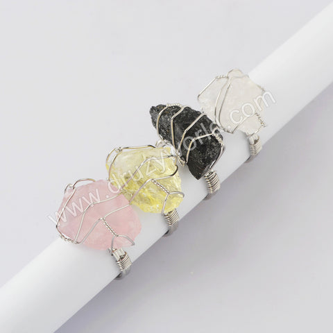 Silver Plated Wire Wrap Natural Stone Adjustable Ring WX1866