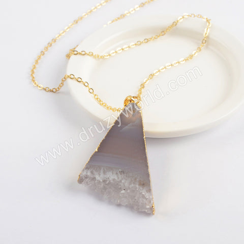 Natural Agate Druzy Triangle Pendant Gold Plated Chain Necklace G1961-N