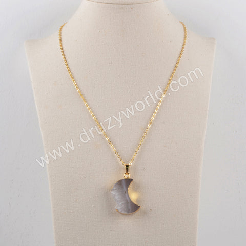 "18"" Crescent Natural Agate Druzy Necklace Gold Plated G1963-N"