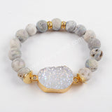 Gold Plated Titanium Druzy Bracelet With 10mm Beads G1536