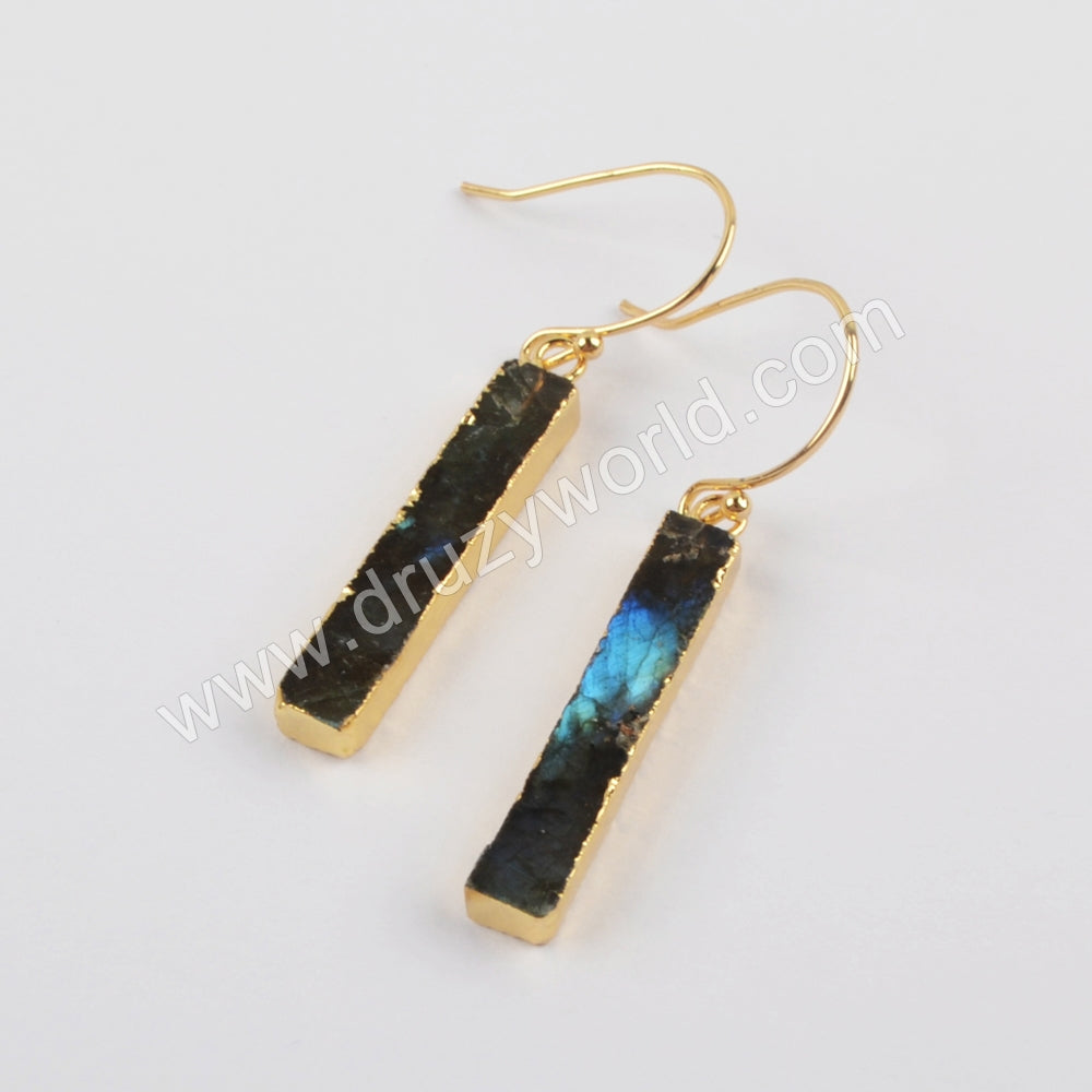 Natural Labradorite Earrings Fashion Women Earrings Silver Plated S1923