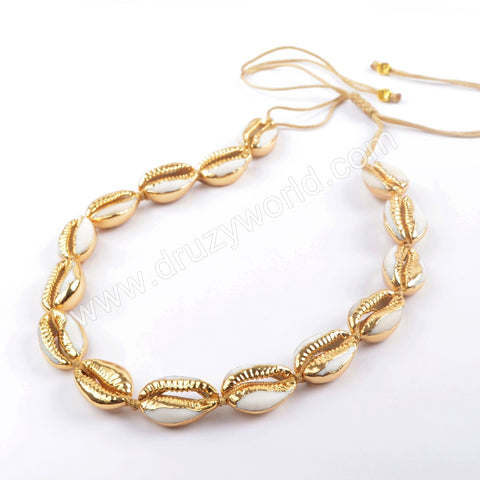 Pure Handmade 15 Narural Cowrie Shell Adjustable Rope Choker HD0015