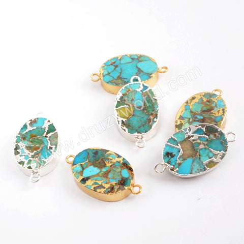 Oval Gold Plated Copper Natural Turquoise Connector G1705