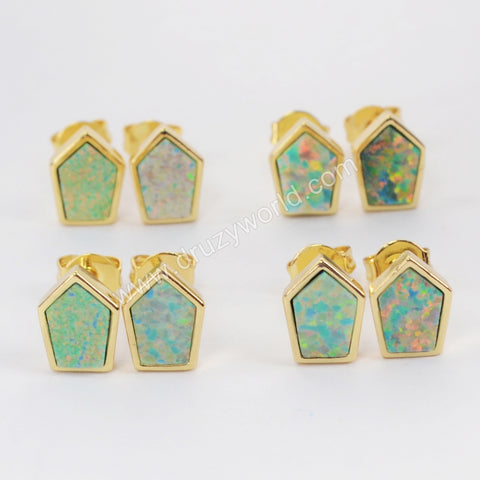 Gold Bezel Shield Shape White Opal Studs ZG0211