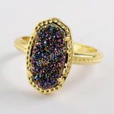 Gold Plated Claw Hexagon Rainbow Color Titanium Druzy Ring ZG0345