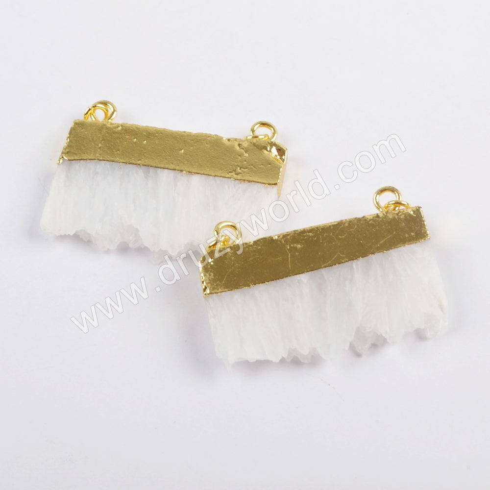 White Slice Quartz Crystal Connector In Gold For Jewelry Handmade Findings As Gift For Her WX1032