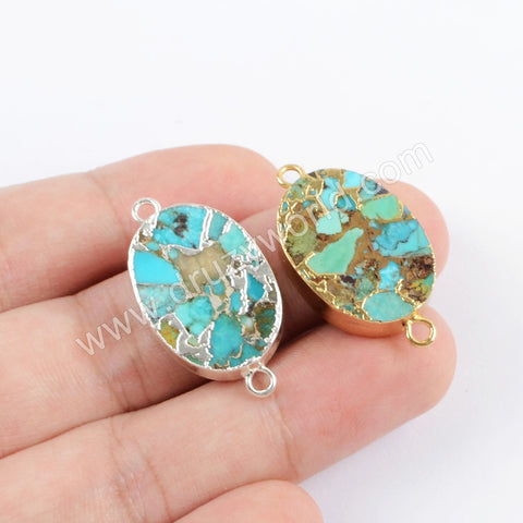 Copper Natural Turquoise Connector For Jewelry Making Silver Plated S1705