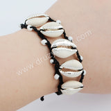 Pure Handmade Five Silver Narural Cowrie Shell Adjustable Rope Bracelet HD0017