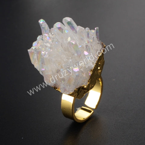 Gold Plated Natural White Quartz Titanium AB Cluster Open Ring G1072