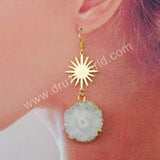 Sunflower Statement Earrings Women Jewelry Gold Plated HD0192