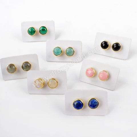 Round Gold Plated Bezel Multi-kind Stone Studs ZG0283