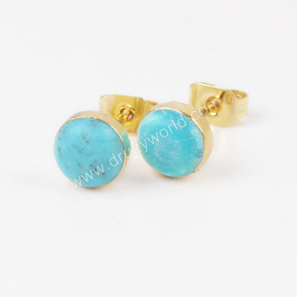 6mm Round Gold Plated Natural Turquoise  Stud Earrings G1273