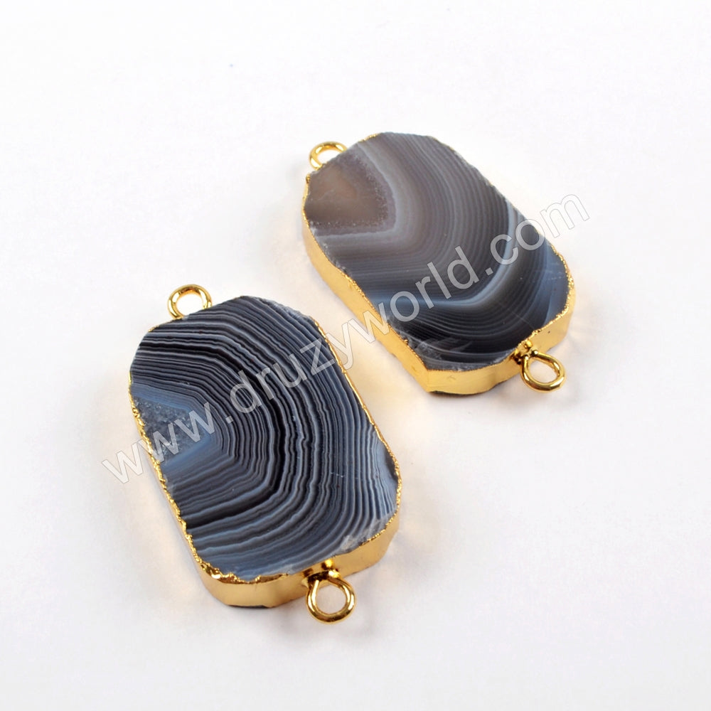 Gold Plated Botswana Agate Gemstone Connector Findings For Handmade Jewelry For Gift G1637