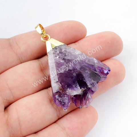 Gold Plated Amethyst Pendant WX894