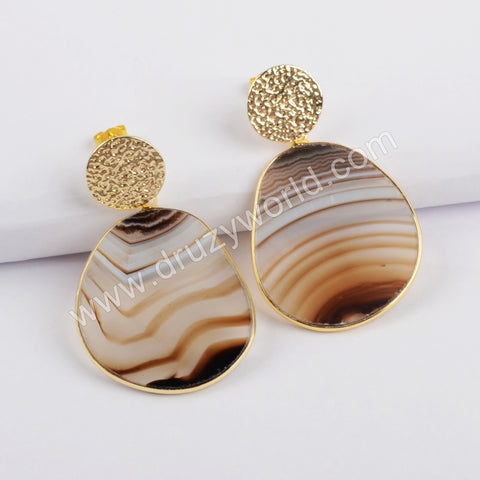 Gold Bezel Natural Slice Agate Earrings WX1195