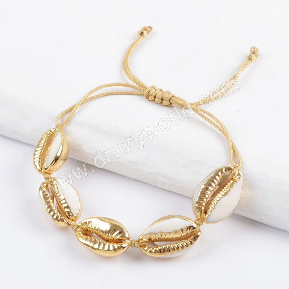 Pure Handmade Five Narural Cowrie Shell Adjustable Rope Bracelet HD0016