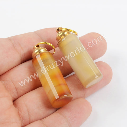 Gold Natural Agate Perfume Bottle Pendant WX1181