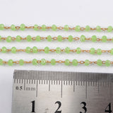 5m/lot,3mm Green Glass Beads Chains  JT173