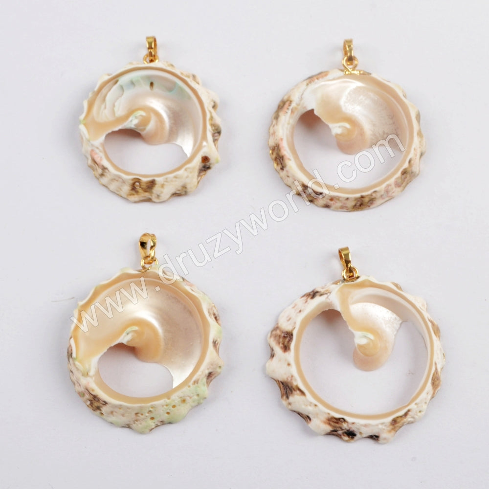 Gold Plated Round Shell Slice Pendant G1610