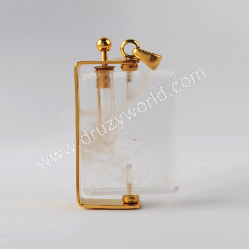 Natural Multi-kind Stones Perfume Bottle Pendant Gold Plated WX1300