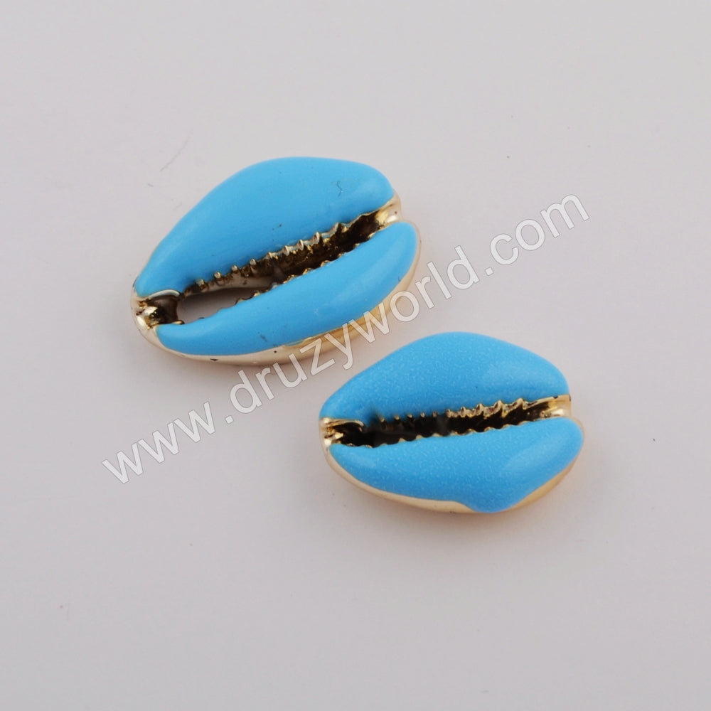 Gold Plated Rainbow  Cowrie Shell Beads G1754