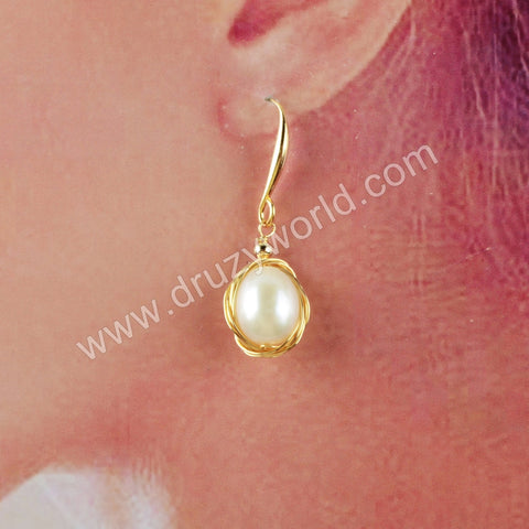 Natural Pearl Wire Wrap Dangle Earrings WX1216