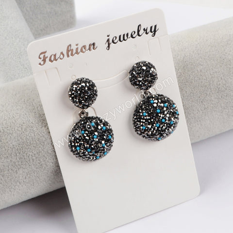 Rhinestone Pave Round Stud Earrings JAB772