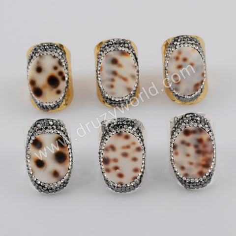 Gold Plated Rhinestone Pave Natural Conch Shell Ring JAB961