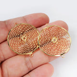 30mm Wavy Round Shape Gold Plated Brass Hollow Connector PJ099