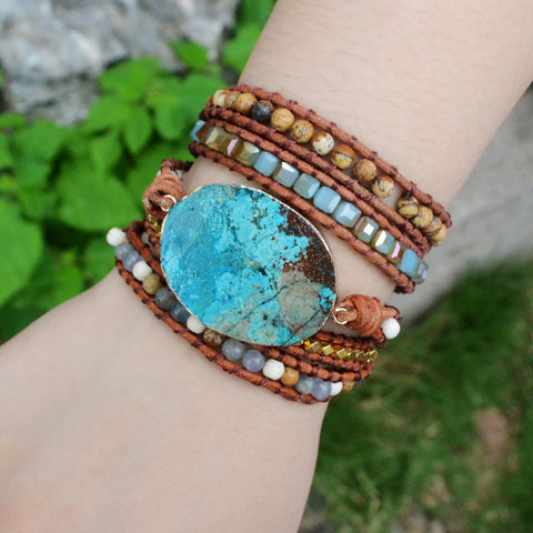 Women Leather Bracelet Unique Mixed Natural Stones Gilded Turquoise Stone Charm 5 Strands Wrap Bracelets Handmade Boho Chic HD0042