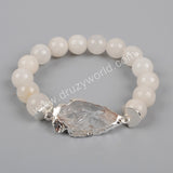 Rose Gold Color Natural Quartz Arrowhead Bracelet With 10mm India Crystal Druzy/White Natural Stone Beads G1208
