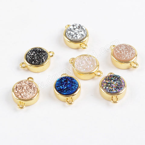 9mm Round Natural Agate Titanium Rainbow Druzy Connector Gold Plated ZG0359