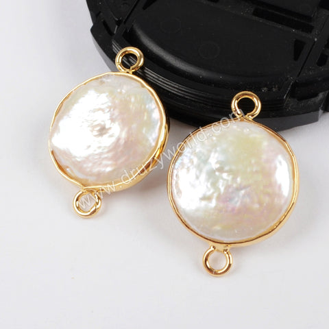 Gold Plated Natural Pearl Coin Connector G1405