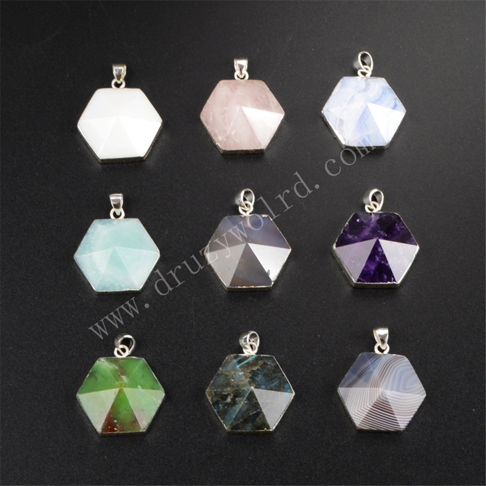 925 Sterling Silver Hexagon  Natural Multi-kind Stone Pendant SS161