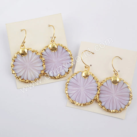 Gold Plated Round Flower White Shell Earrings Wholesale Lovely Handmade Ear G1896-E