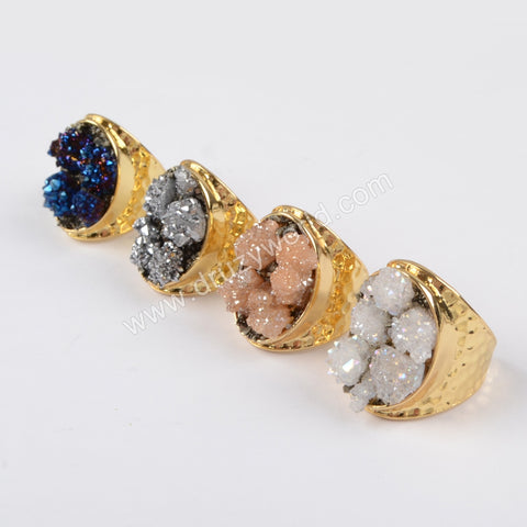 Gold Plated Rough Titanium Druzy Crystal Chips Ring G1434
