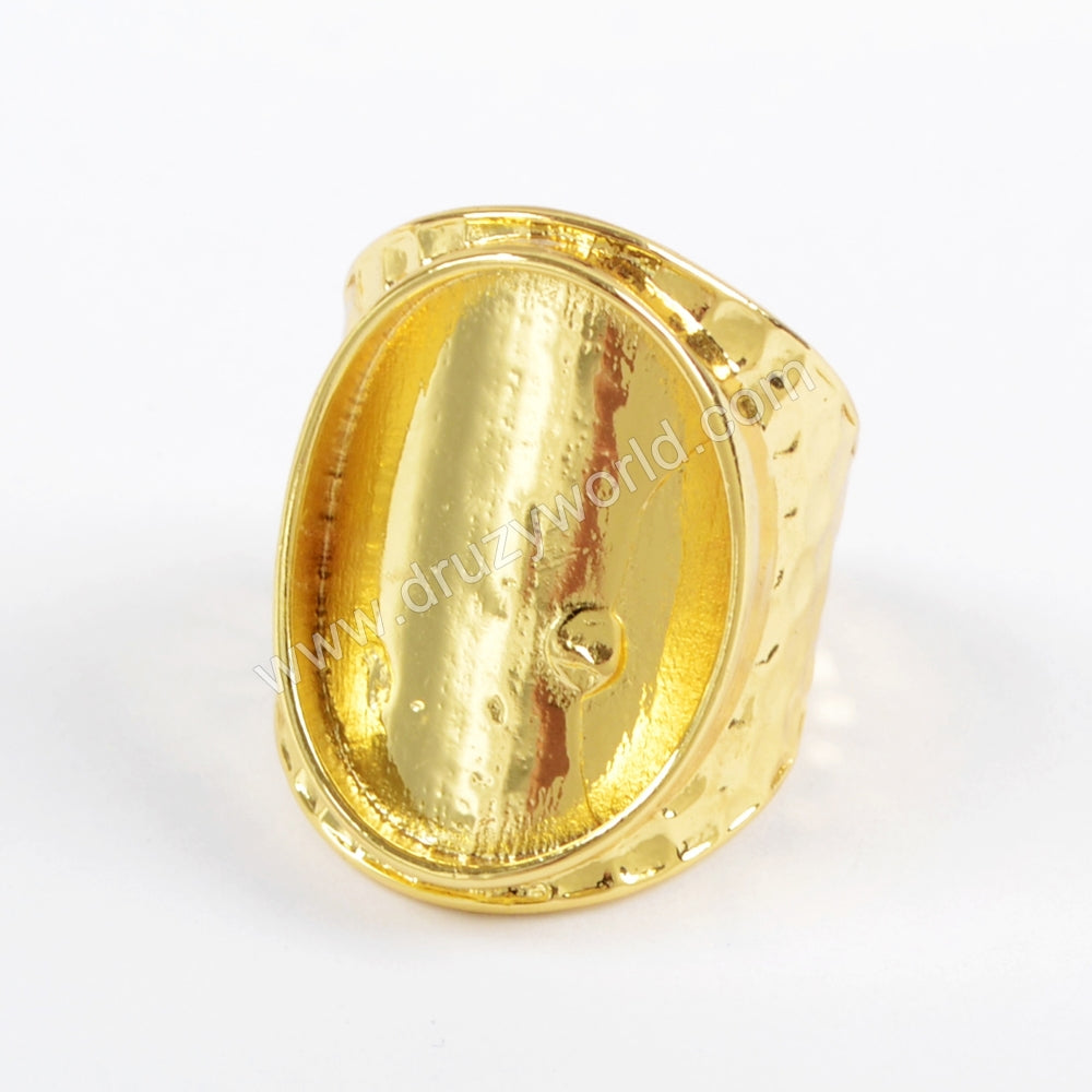 Gold/Silver Plated Ring Blank Bezel With With Decorative Pattern PJ087-G/S