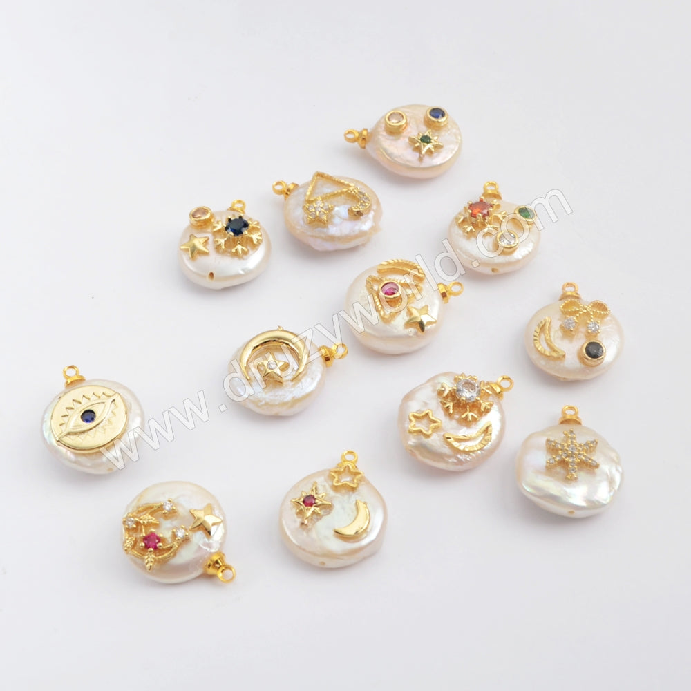 Gold Plated Natural Pearl With Multi CZ Charm G1887