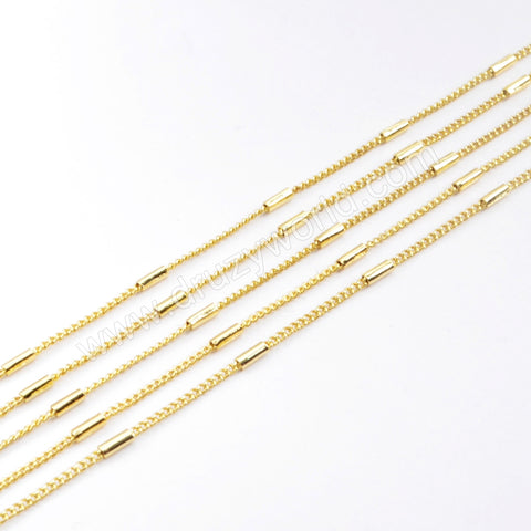 "17"" Gold Plated Brass Gold Tube Beads Chain Necklace PJ167"
